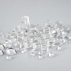 PACK OF CLEAR ACRYLIC CUBES, BALLS & HALF-BALLS